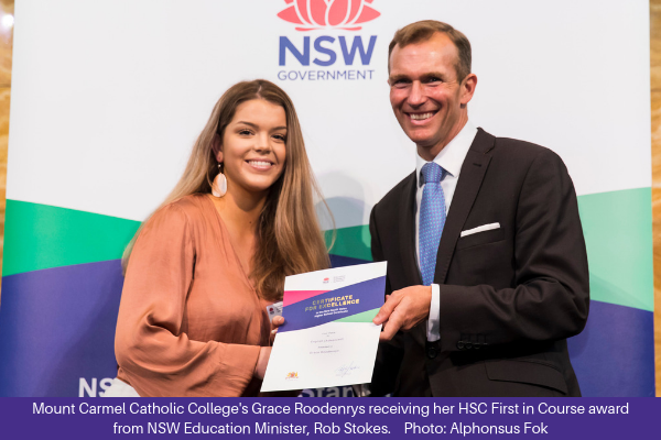 181213 Grace Roodenrys First in Course HSC award + caption